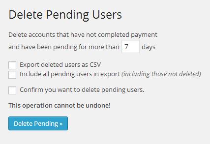 支払い保留中のアカウント情報削除