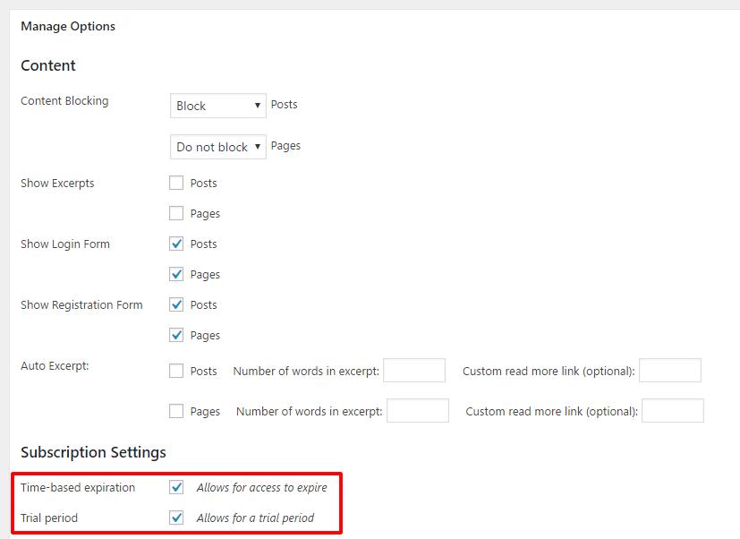 WP-Membersの追加項目 サブスクリプション用の設定